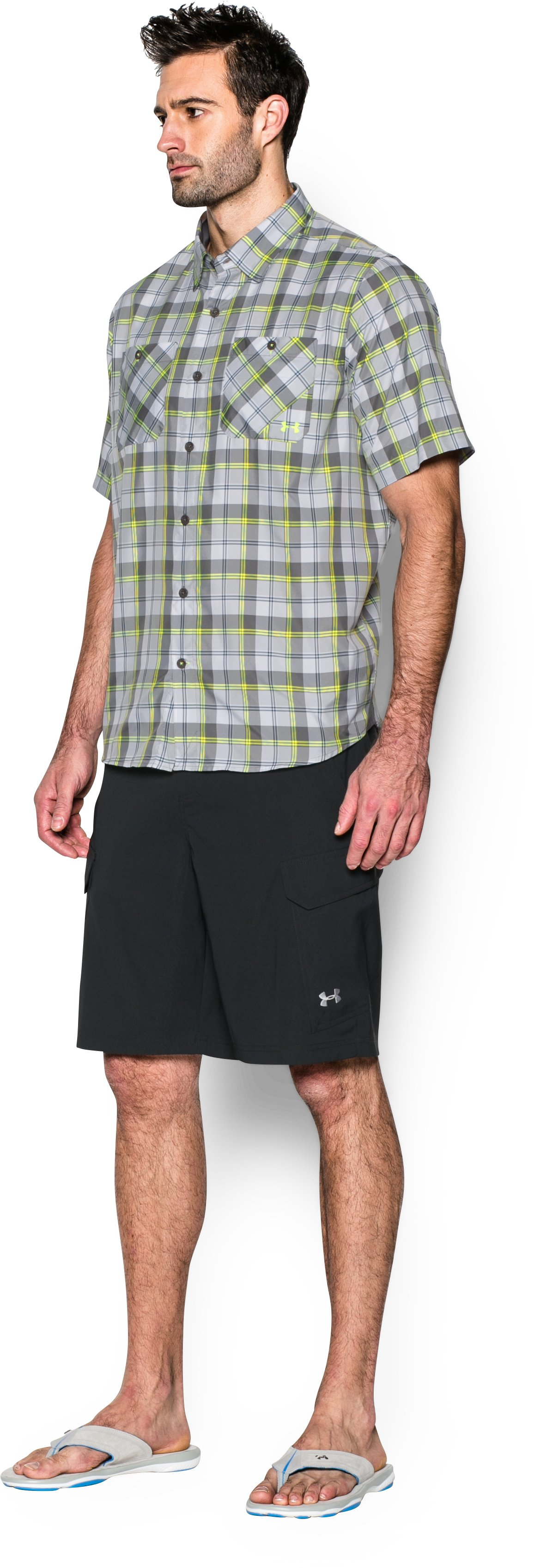Men's UA Chesapeake Plaid Short Sleeve Shirt, GRANITE,