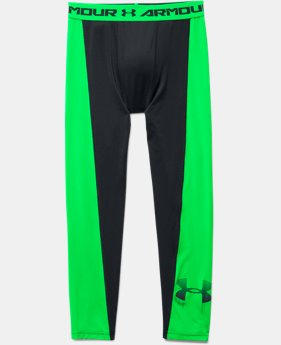 Boys' UA HeatGear® Armour Up Logo Fitted Leggings