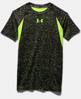 Boys' UA HeatGear® Armour Up Printed Fitted Short Sleeve Shirt