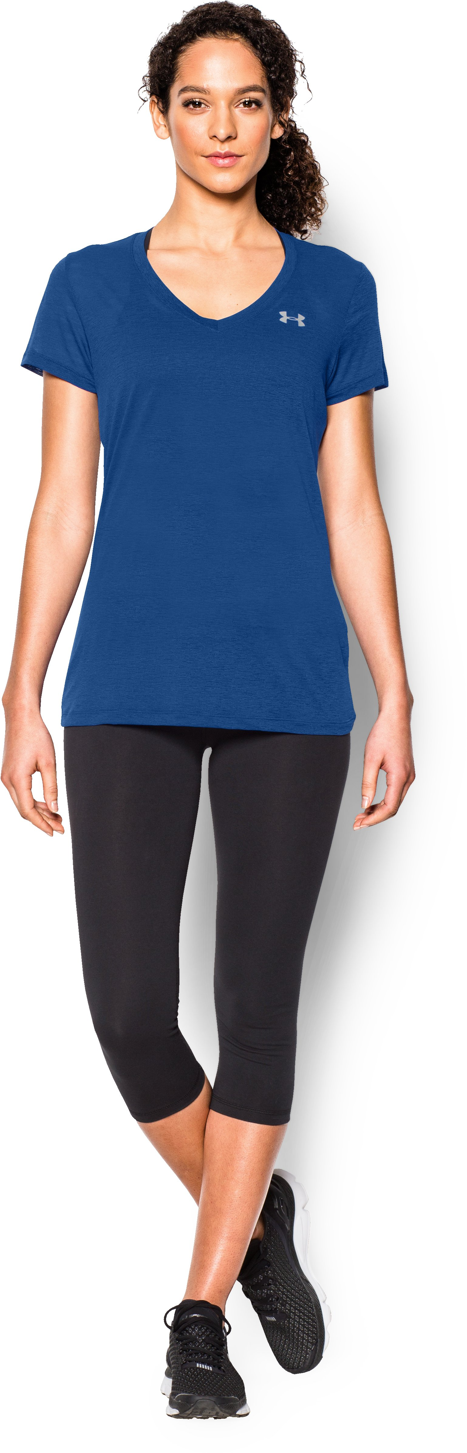 Women's UA Tech™ Slub V-Neck, COBALT, Front