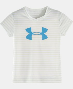 Girls' Pre-School UA Mini Stripe Big Logo T-Shirt