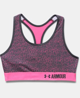 Girls' UA HeatGear® Armour Printed Sports Bra