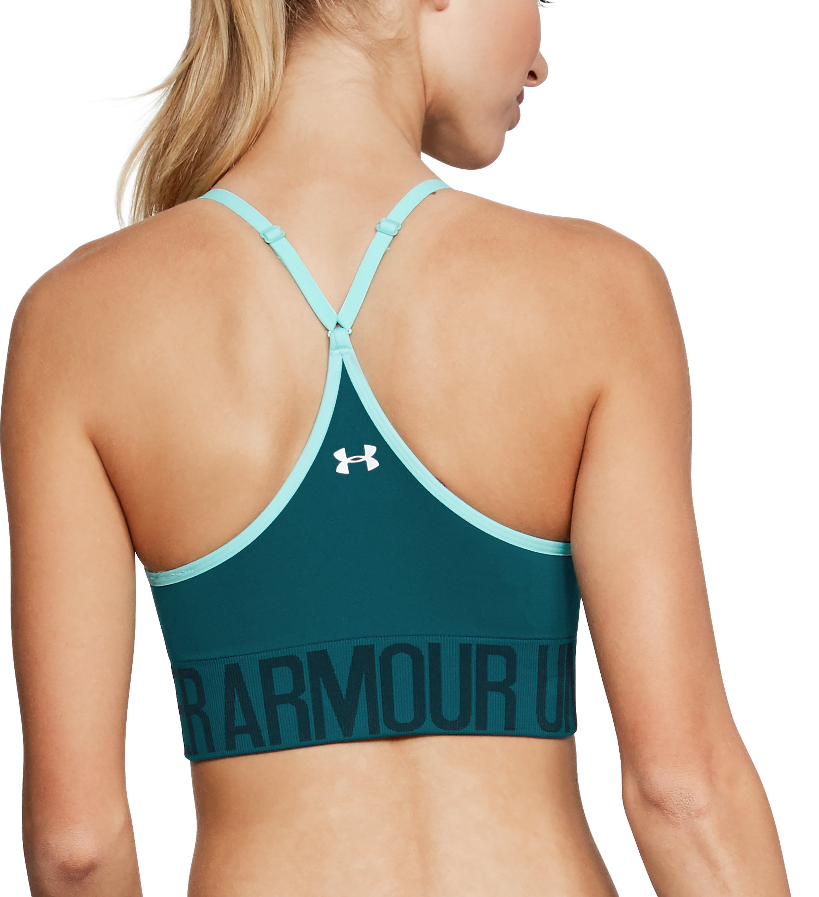 Women's Armour® Seamless Sports Bra, TOURMALINE TEAL, undefined