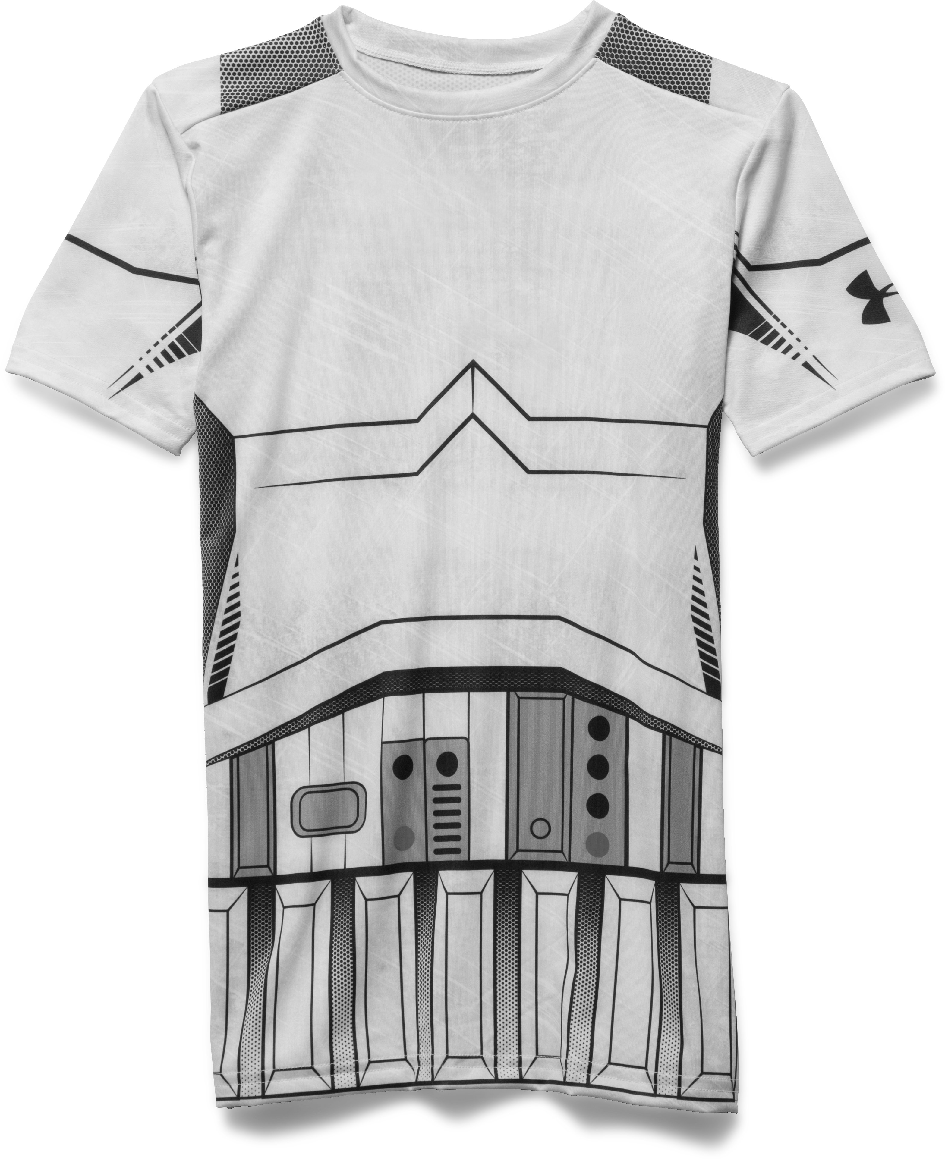 Boys' Star Wars Storm Trooper UA Compression Shirt, White, zoomed image