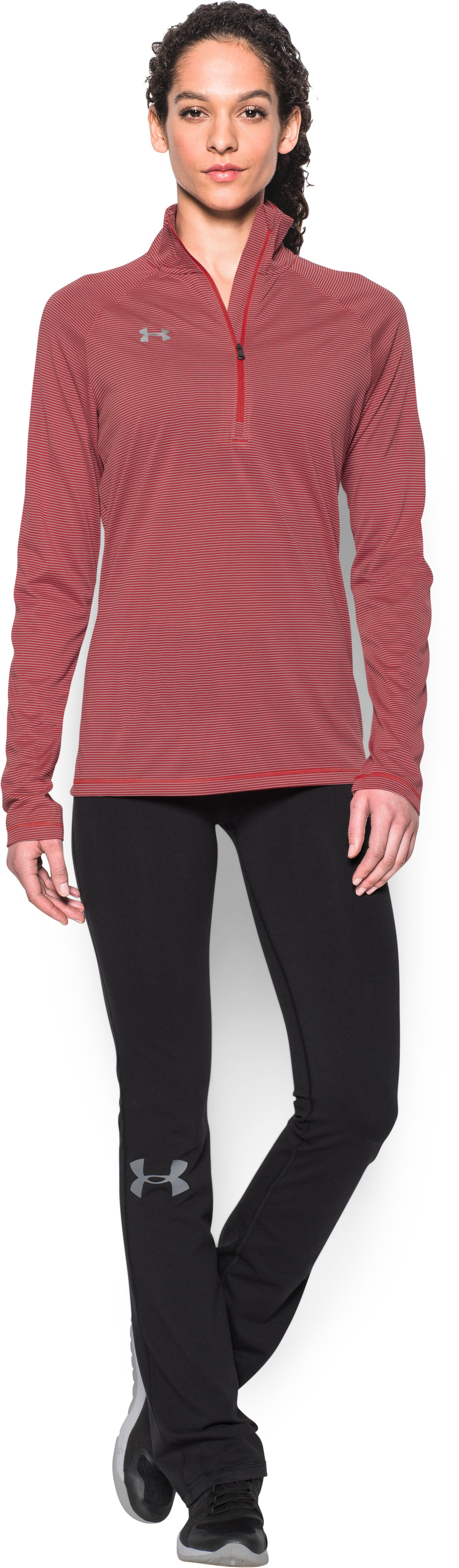 Women's UA Tech™ Microstripe ¼ Zip, Red