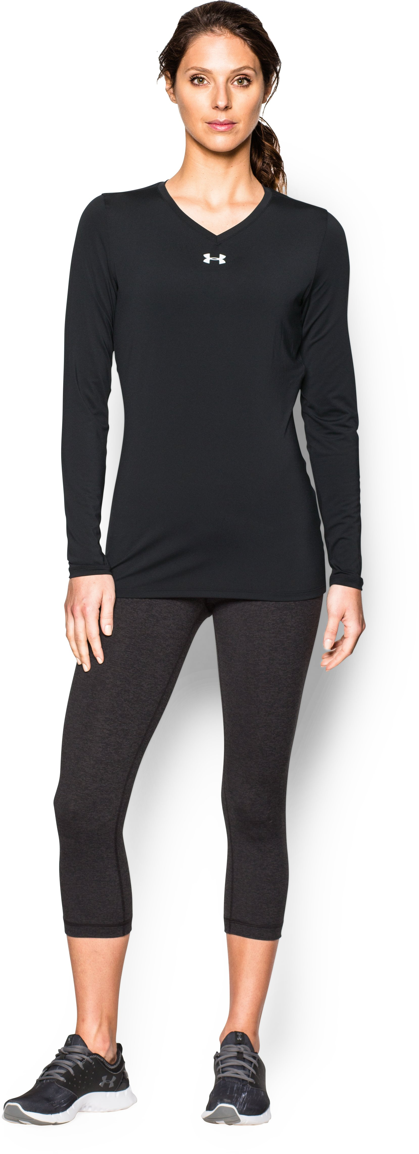 Women's UA Power Alley Long Sleeve Jersey, Black , Front