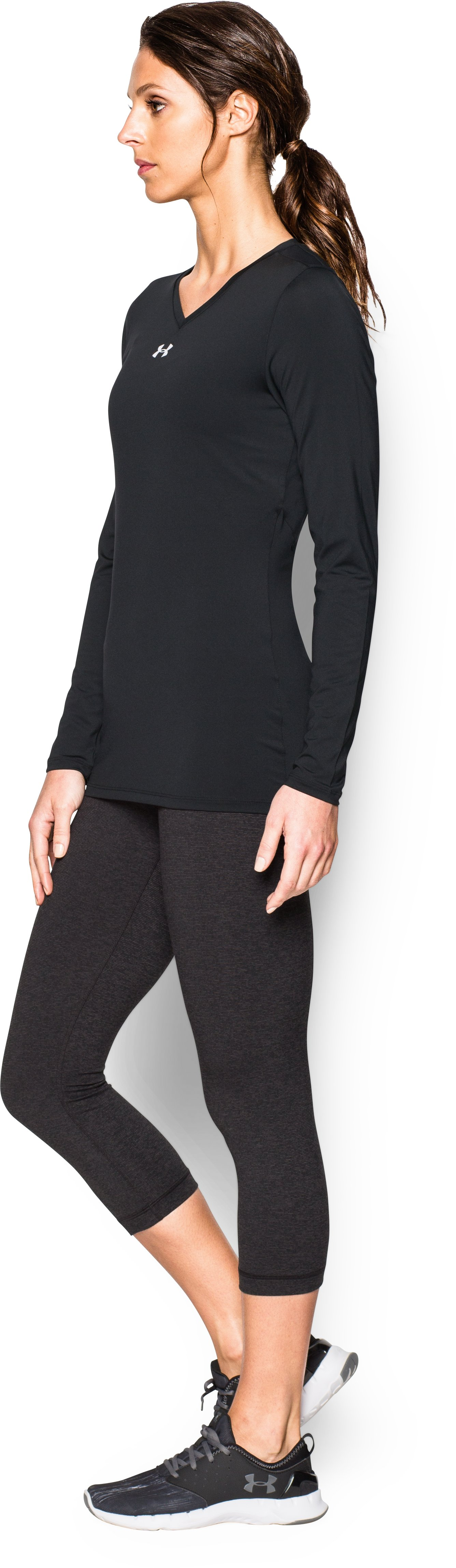 Women's UA Power Alley Long Sleeve Jersey, Black ,