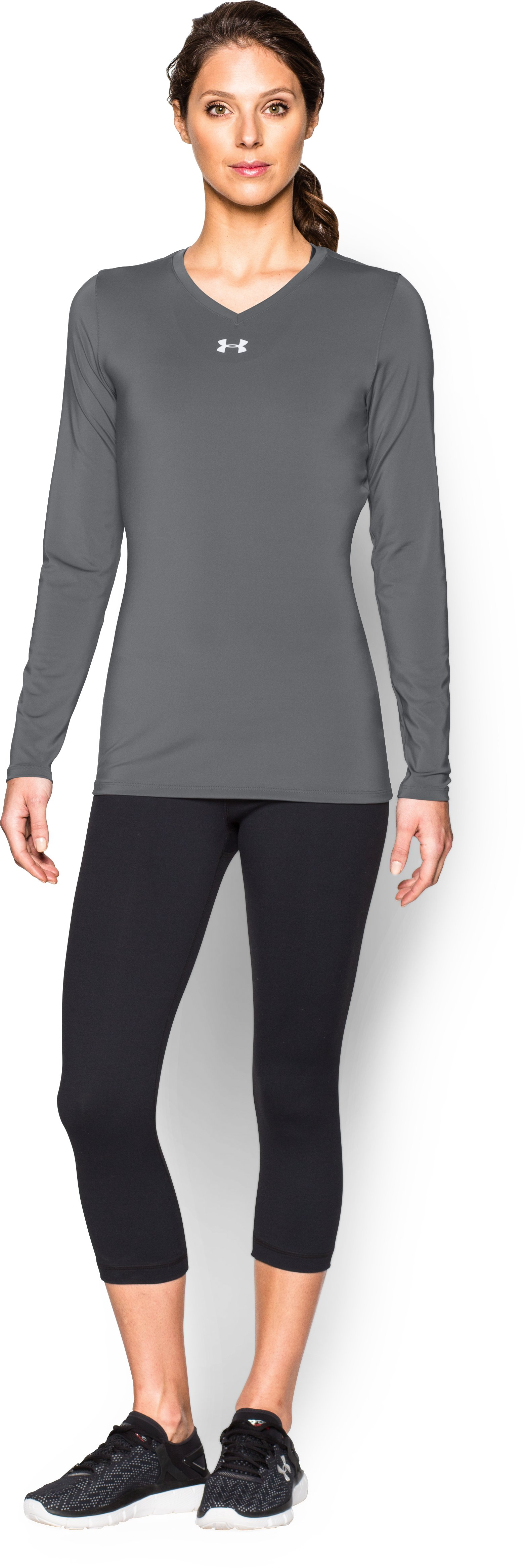 Women's UA Power Alley Long Sleeve Jersey, Graphite, Front