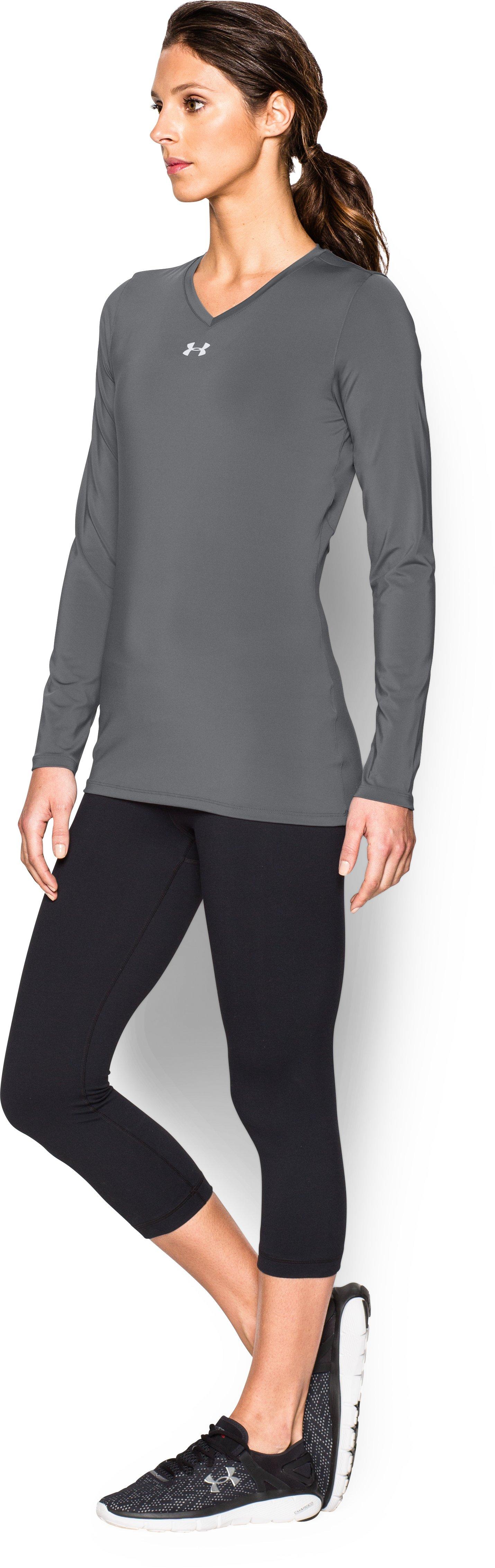 Women's UA Power Alley Long Sleeve Jersey, Graphite,