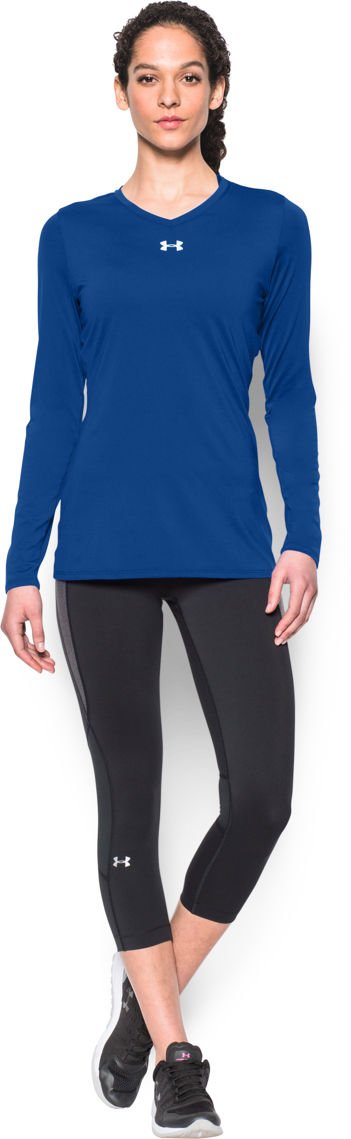 Women's UA Power Alley Long Sleeve Jersey, Royal, Front