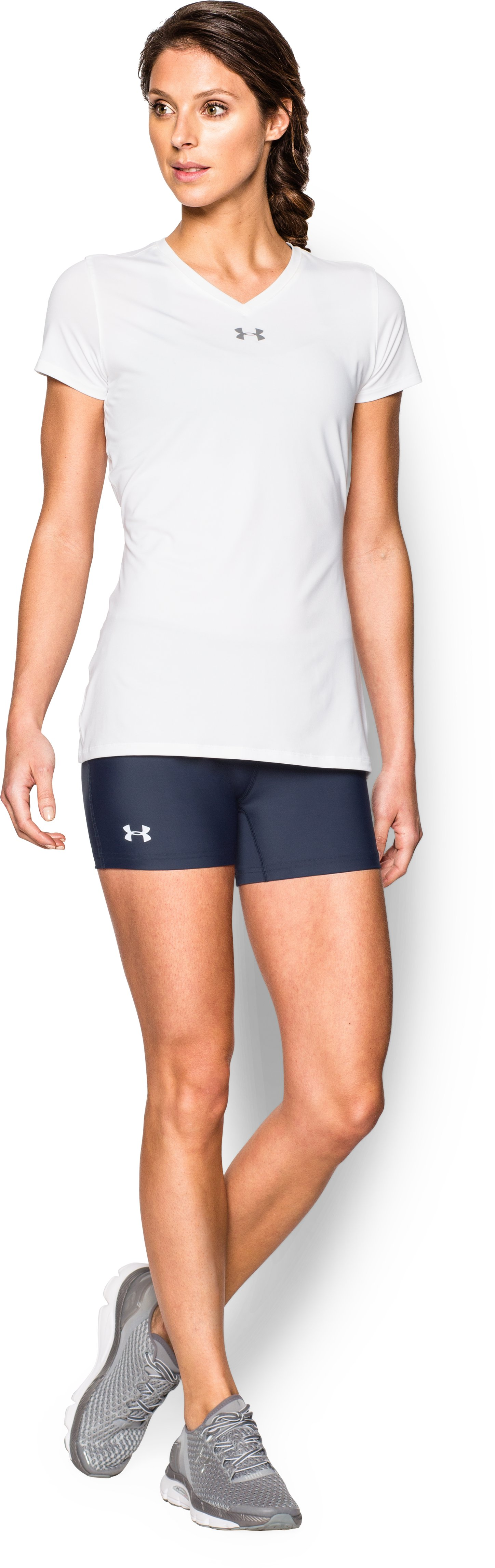 "Women's UA On The Court 4"" Short, Midnight Navy, Front"