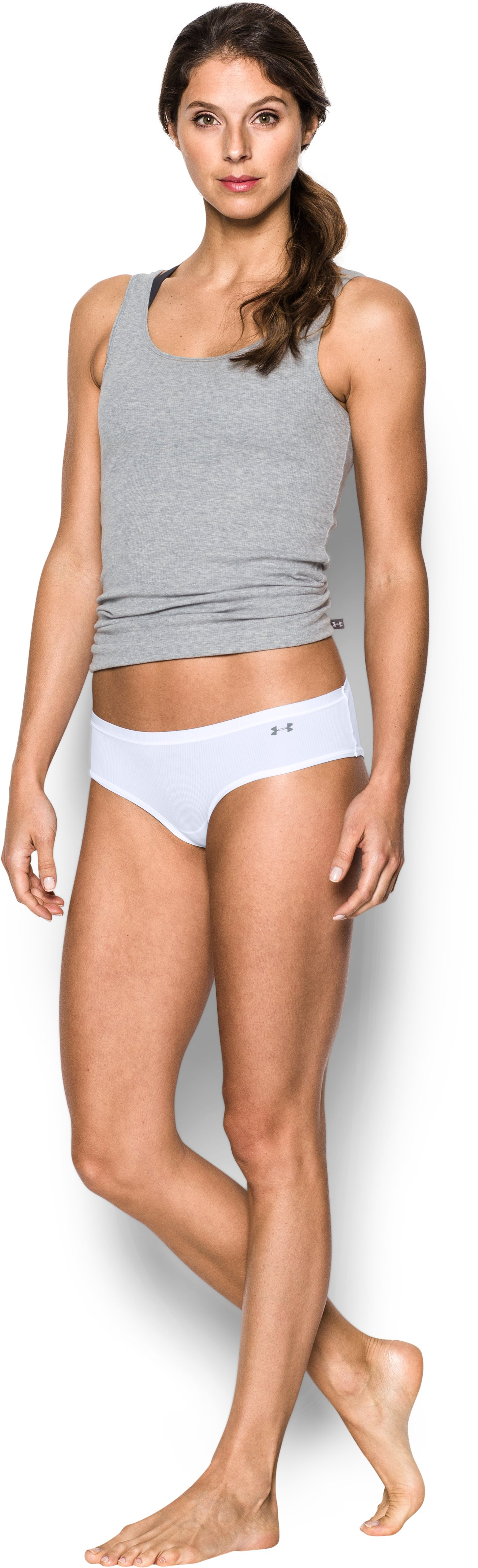 Women's UA Pure Stretch Sheer Hipster, White, Front