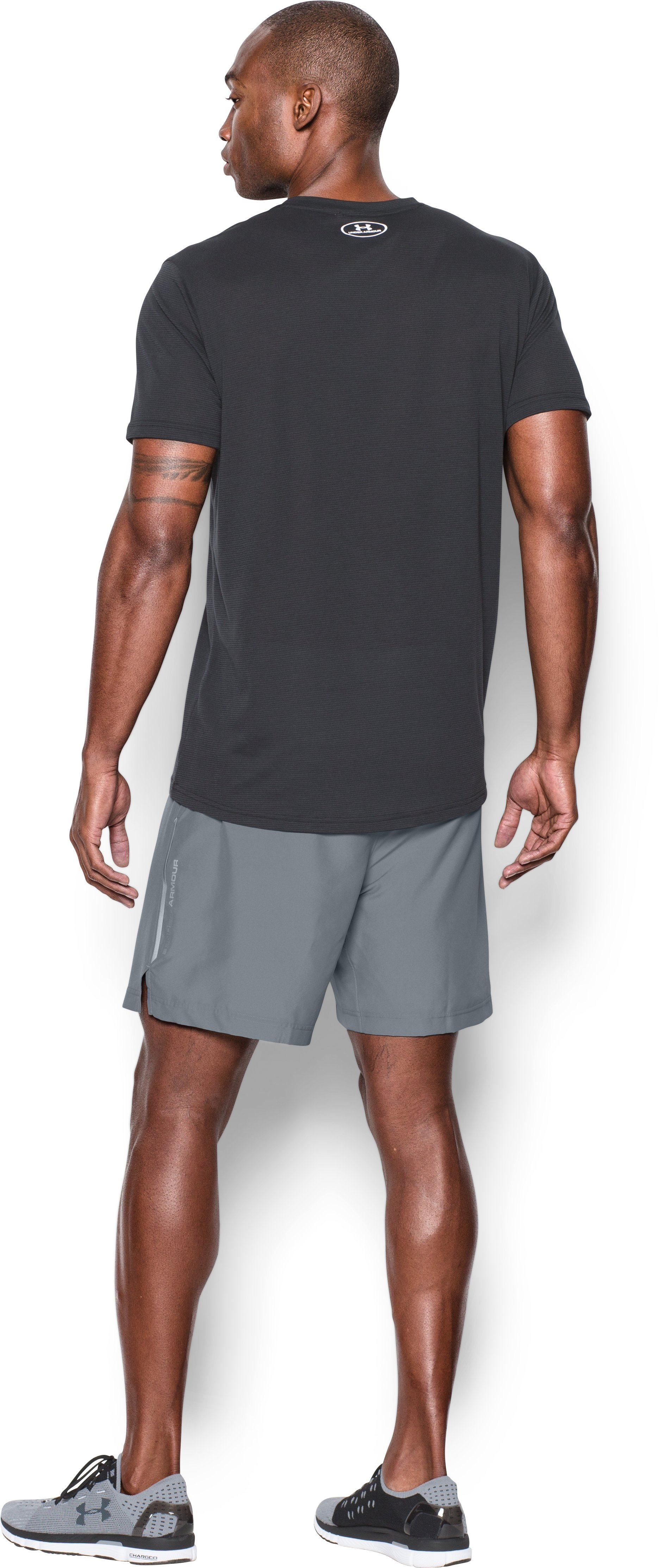 Men's UA CoolSwitch Run 2-in-1 Shorts, Steel, Back