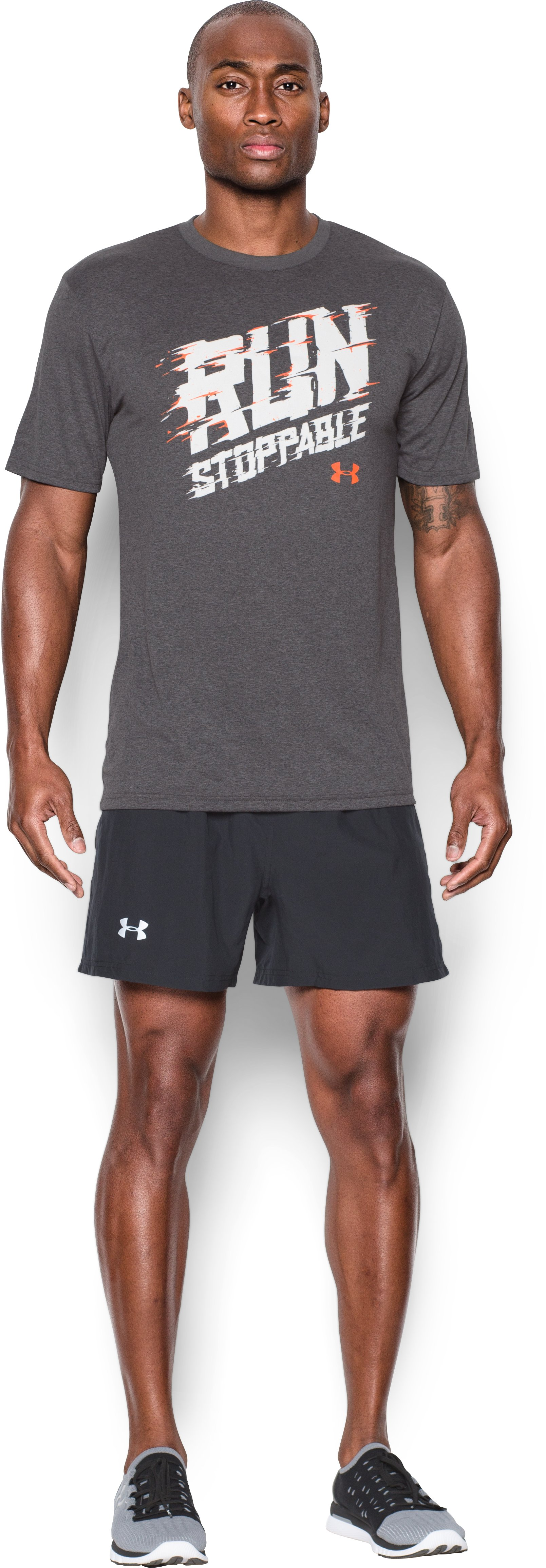 Men's UA Runstoppable T-Shirt, Carbon Heather, Front
