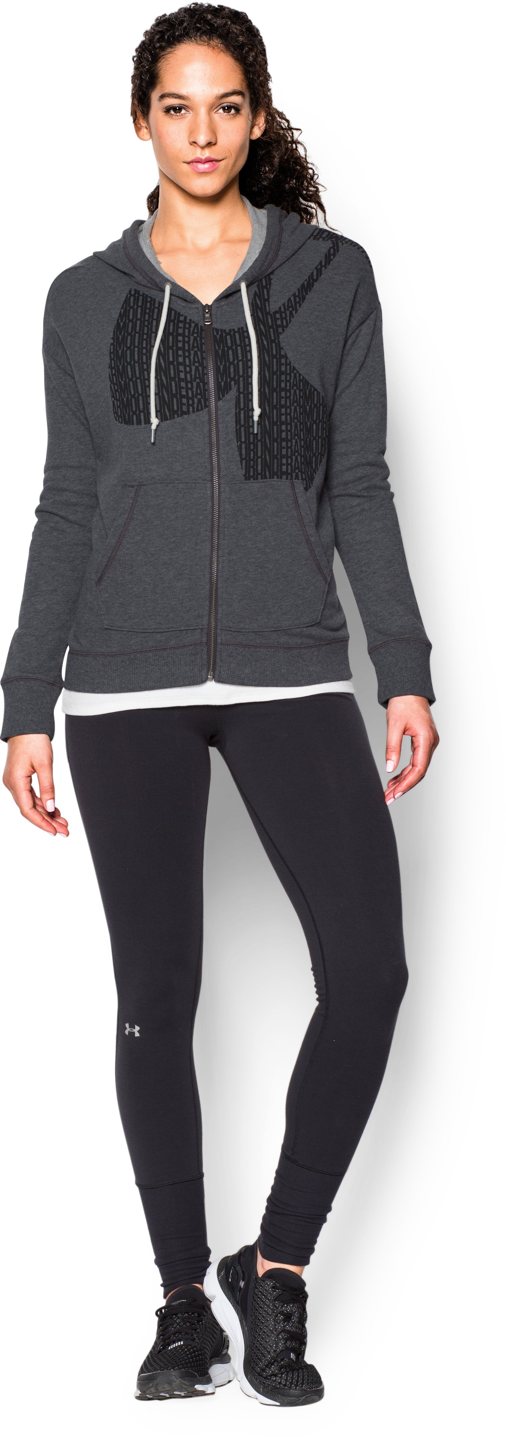 Women's UA Favorite French Terry Full-Zip, Carbon Heather, Front