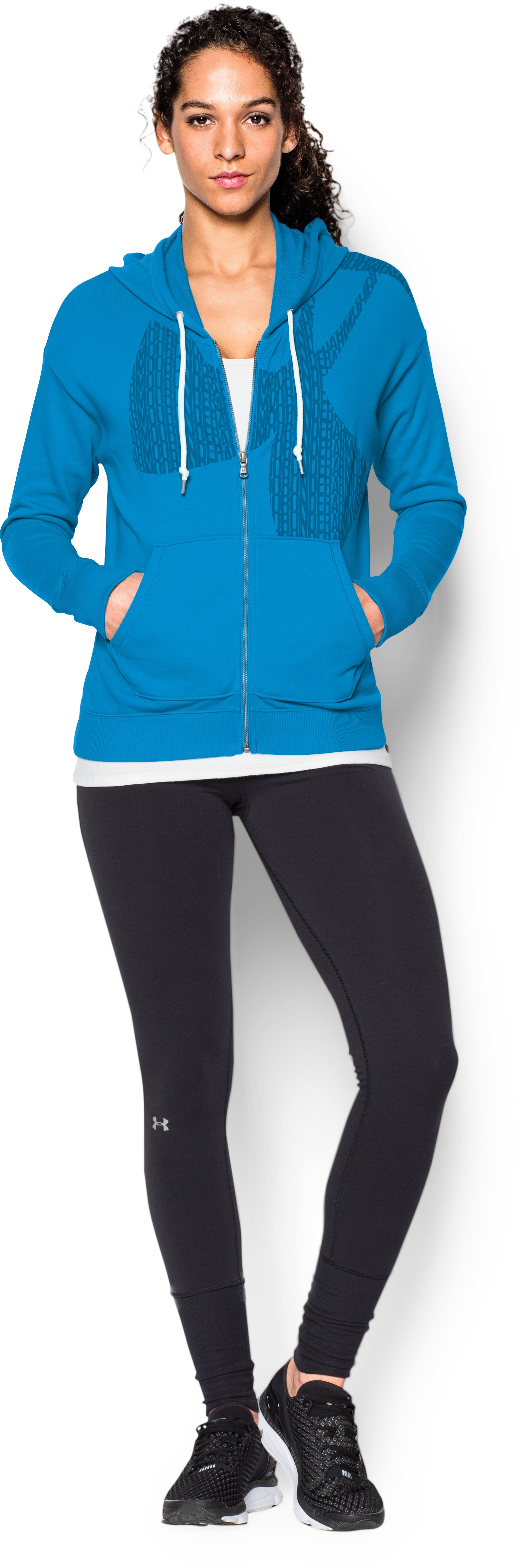Women's UA Favorite French Terry Full-Zip, ELECTRIC BLUE, Front