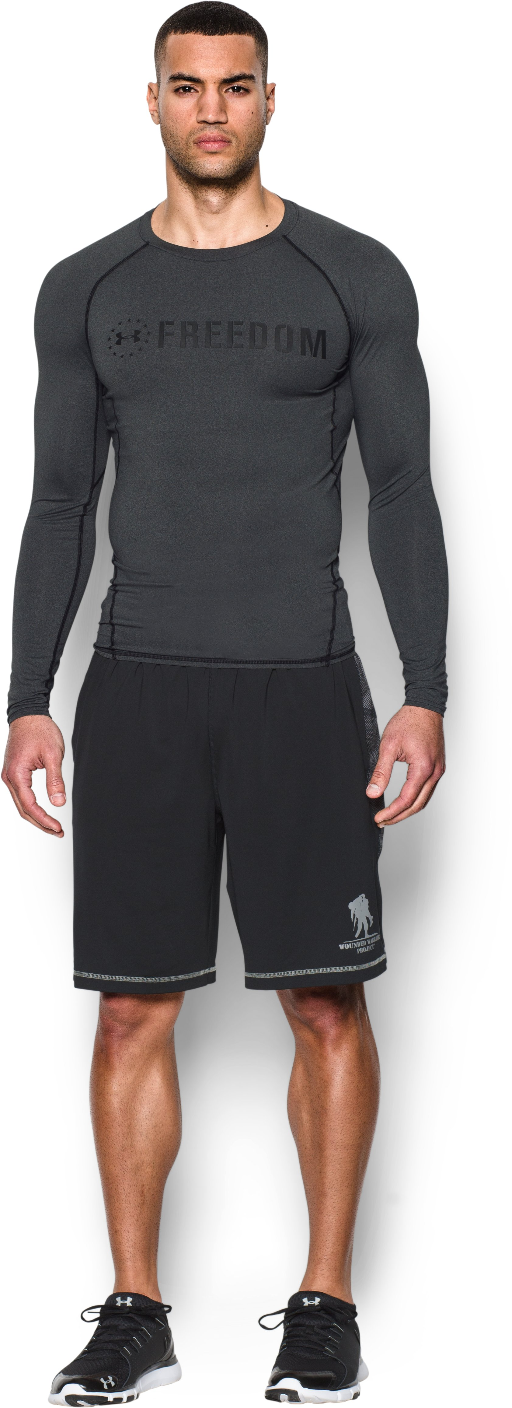 Men's UA Freedom HeatGear® Armour Long Sleeve Compression Shirt, Carbon Heather, Front
