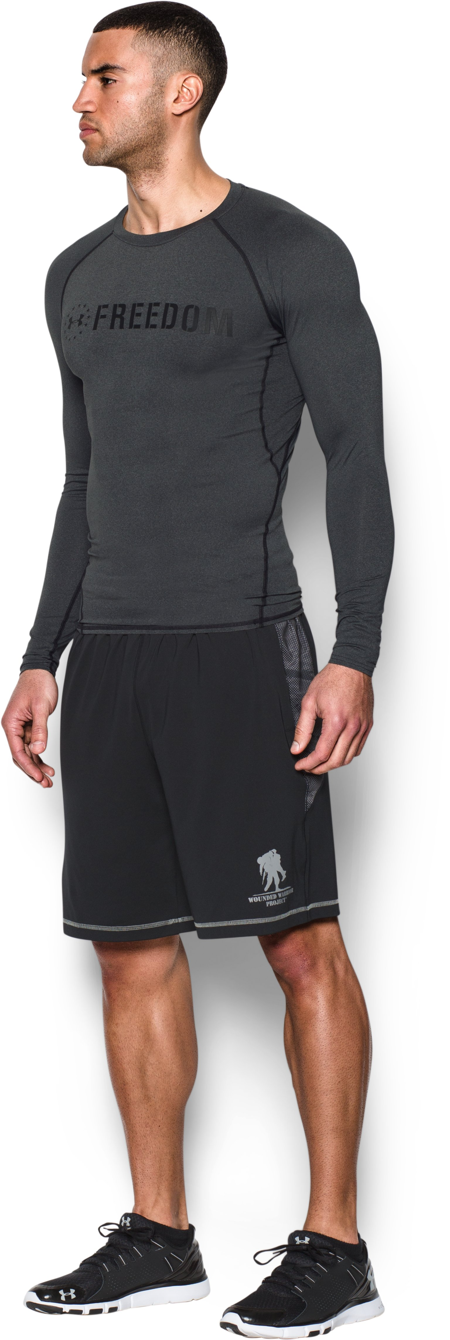 Men's UA Freedom HeatGear® Armour Long Sleeve Compression Shirt, Carbon Heather,
