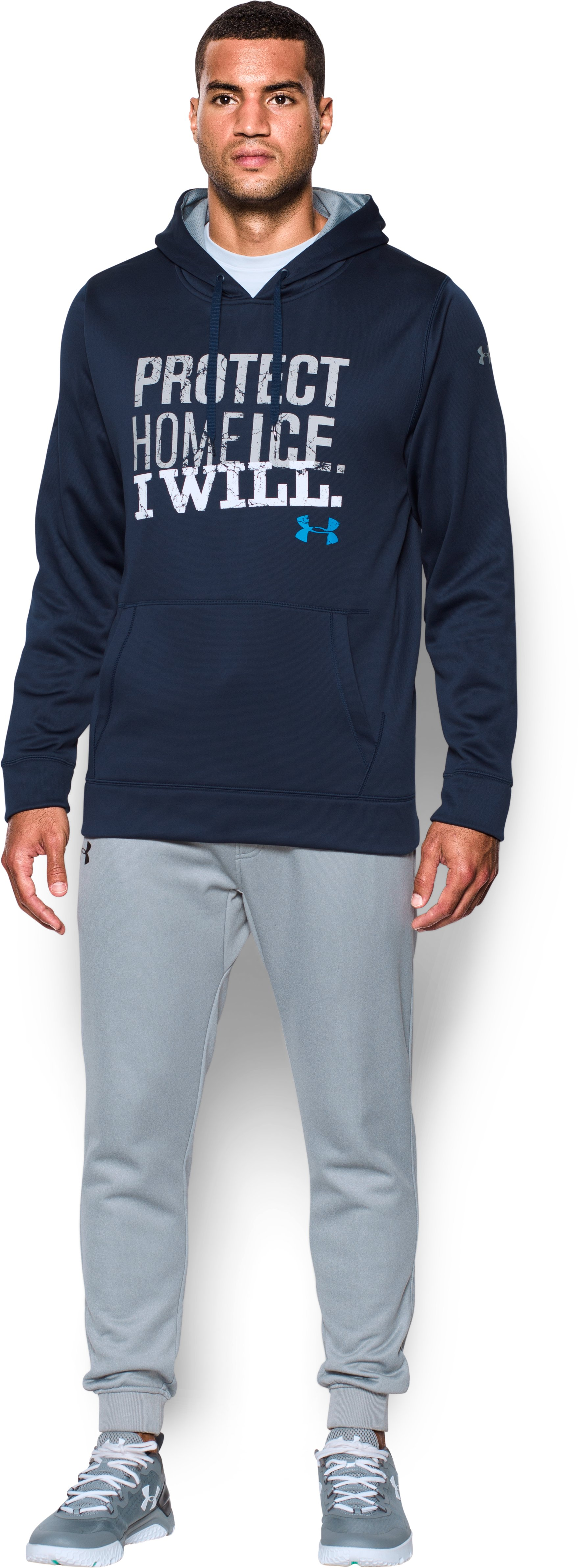 Men's UA Protect Home Ice Hoodie, Midnight Navy, Front