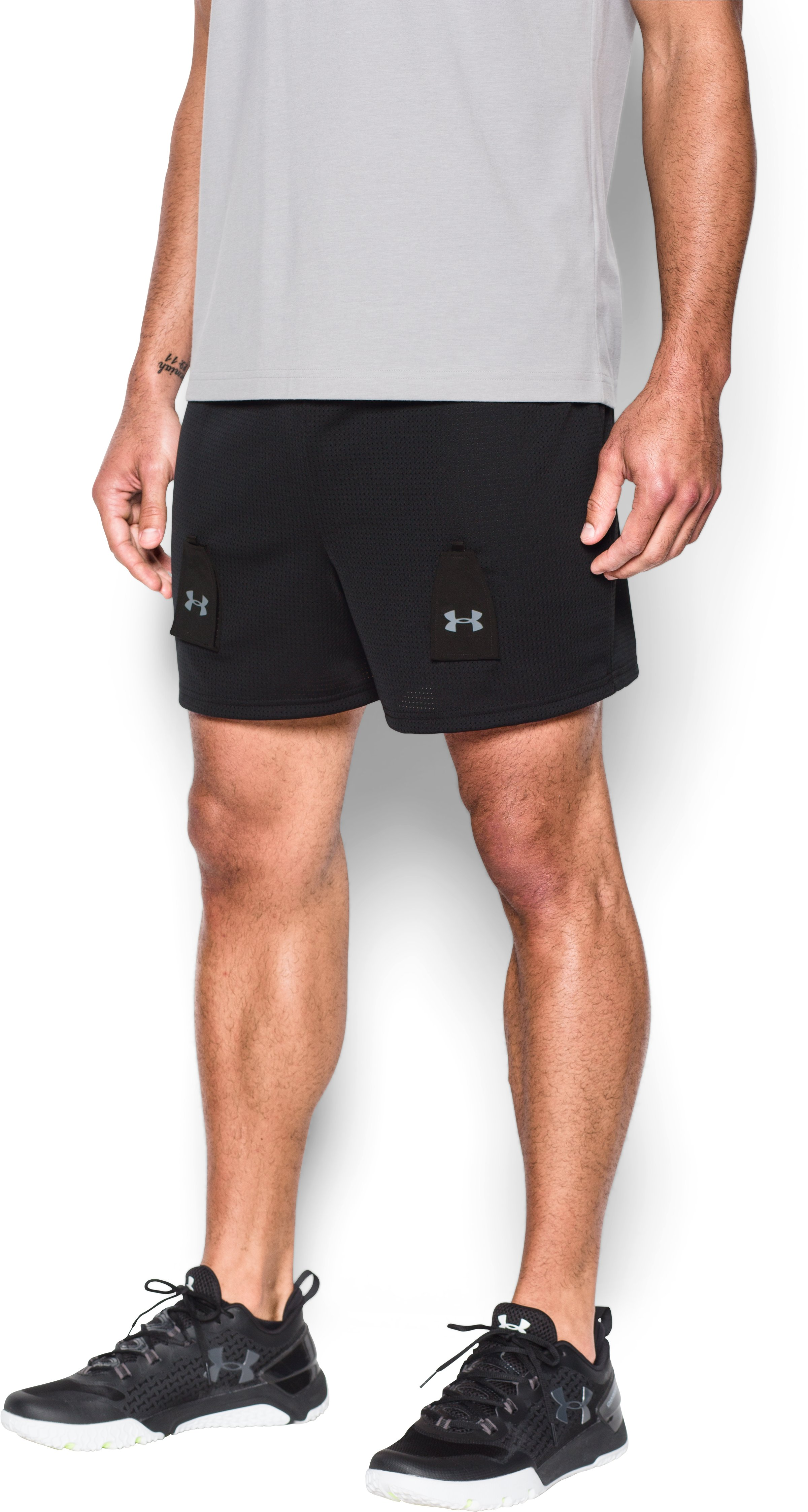 Men's UA Hockey Mesh Shorts w/ Cup, Black , undefined