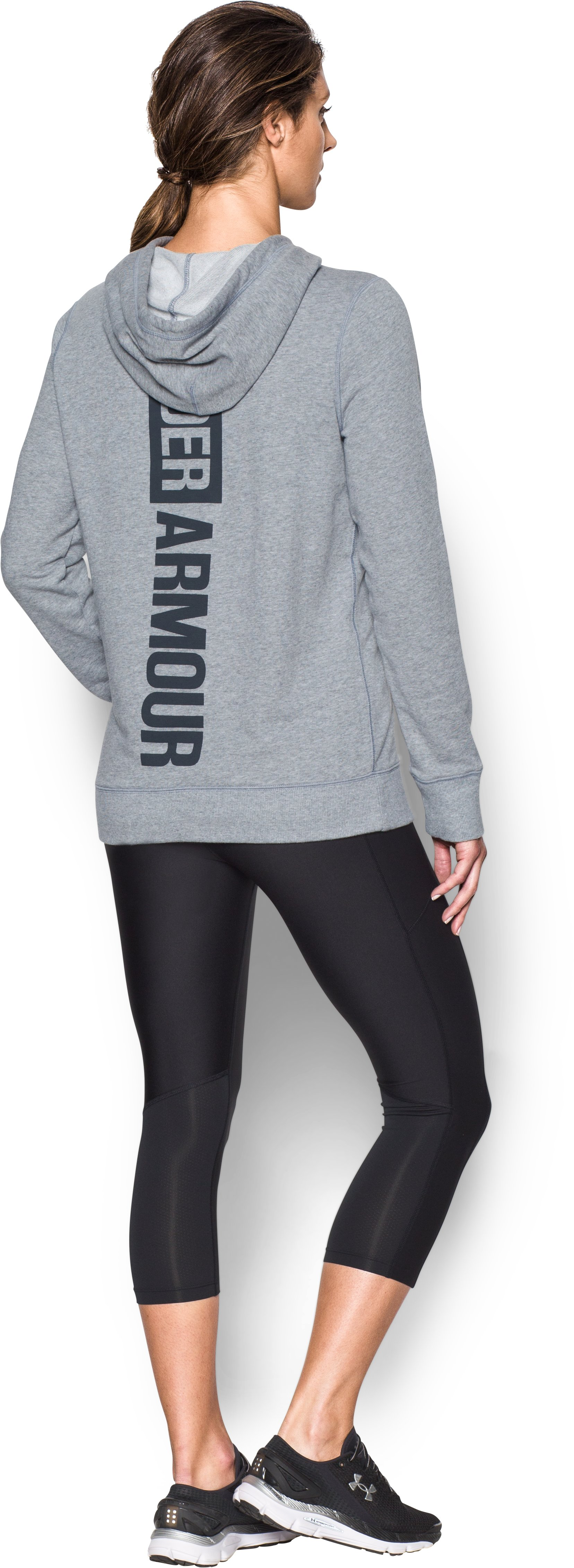 Women's UA Favorite French Terry Popover, True Gray Heather, zoomed image