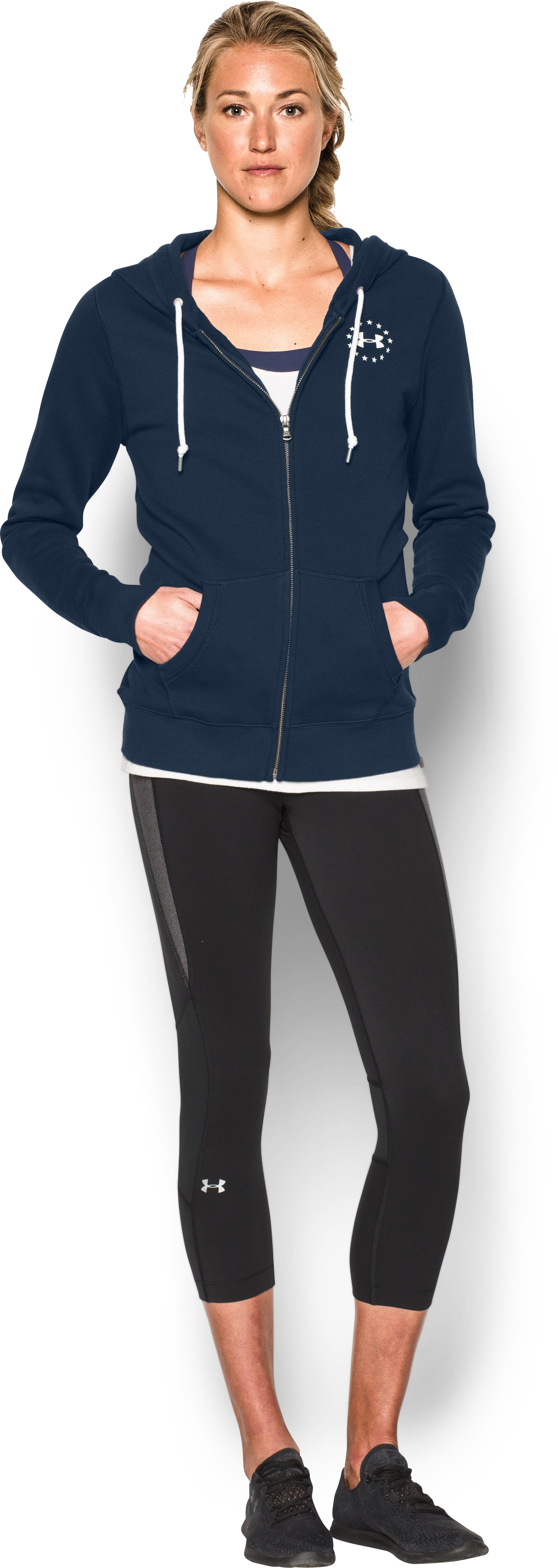 Women's UA Favorite Fleece WWP Full Zip, Academy, Front