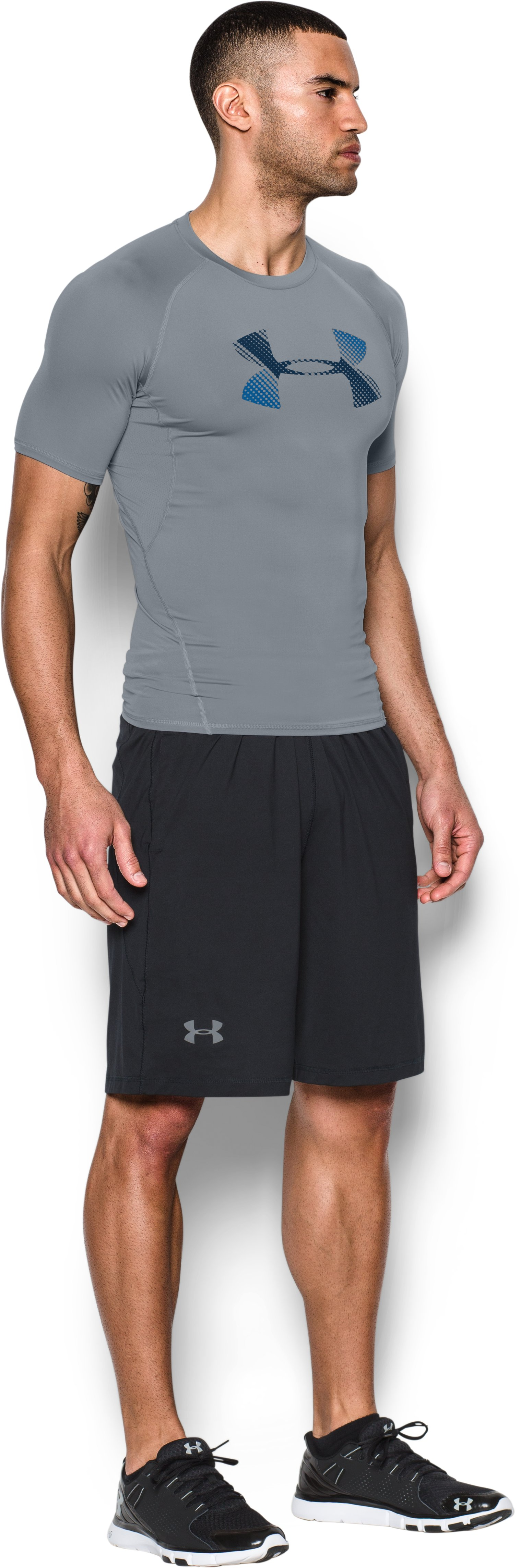 Men's UA HeatGear® Armour Graphic Short Sleeve Compression Shirt, Steel,