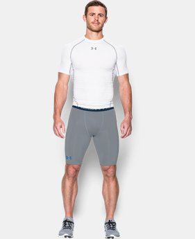 New Arrival Men's UA HeatGear® Armour Graphic Compression Shorts – Long   $37.99