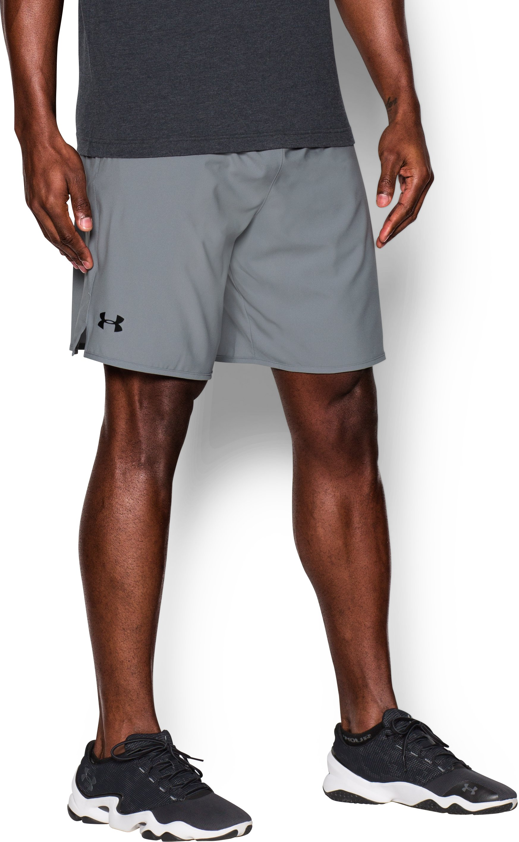 "Men's UA Qualifier 9"" Woven Shorts, Steel, zoomed image"