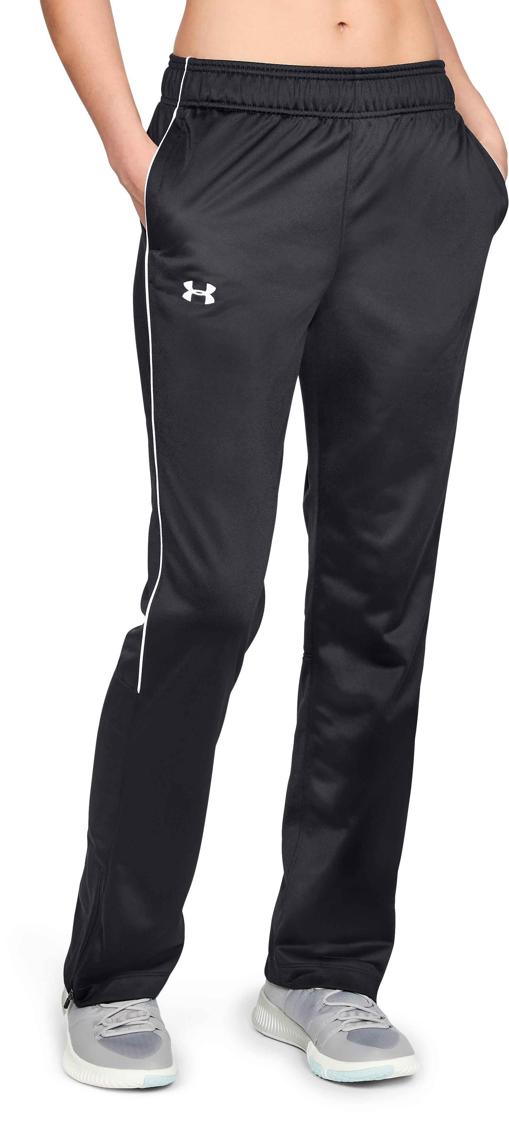 Women's UA Rival Knit Warm Up Pants, Black ,