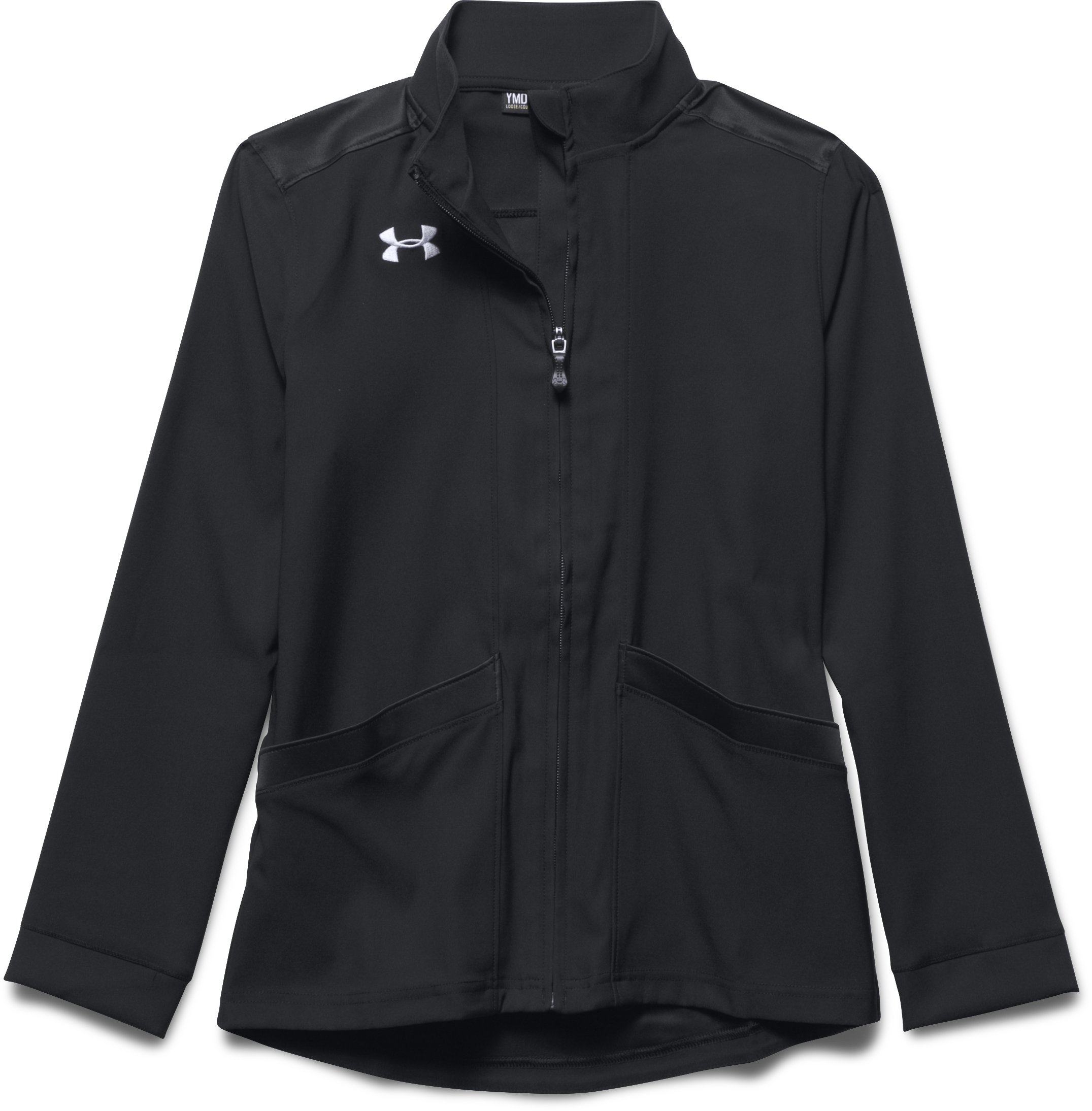 Girls' UA Pregame Woven Warm Up Jacket, Black , Laydown