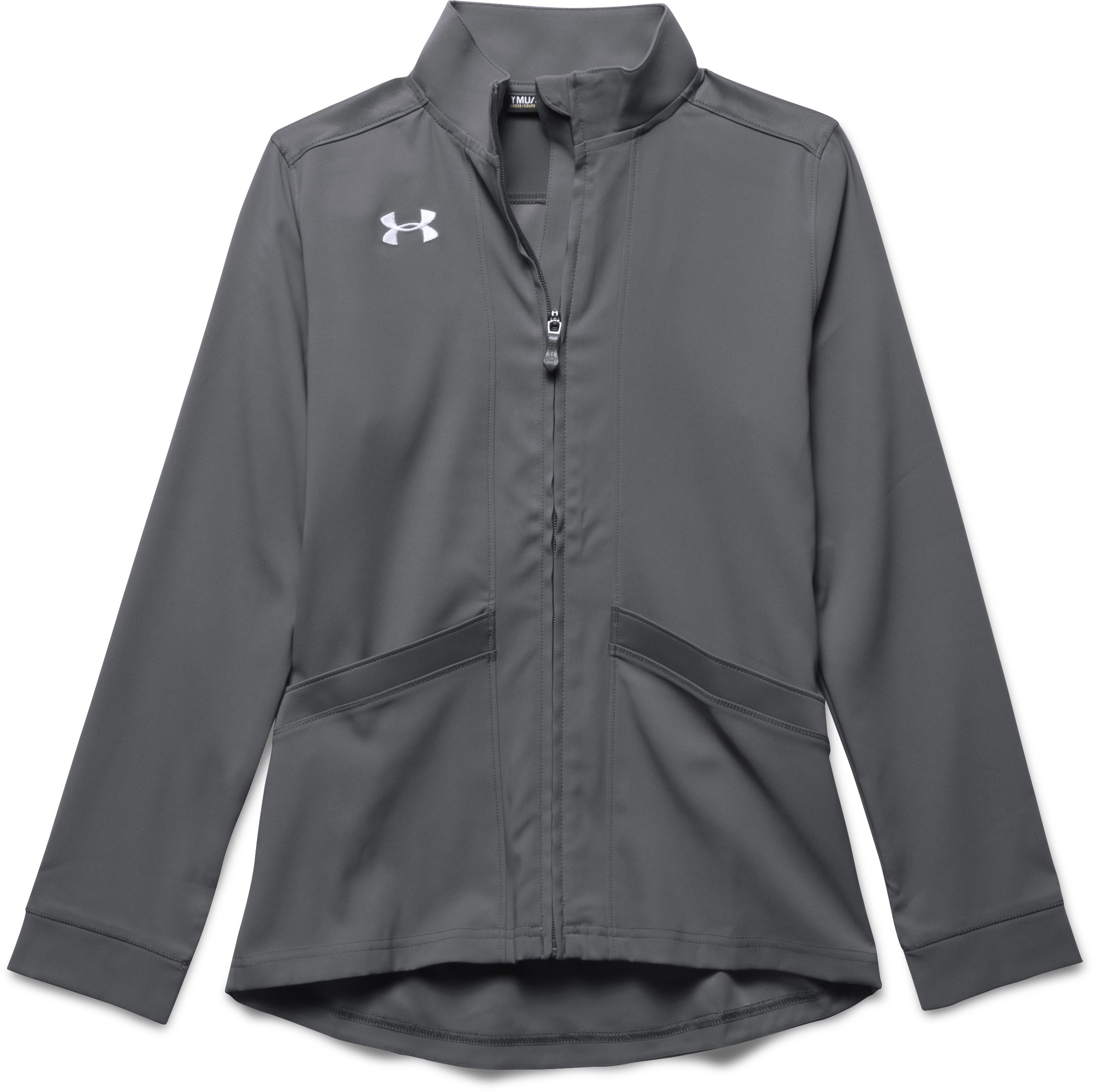 Girls' UA Pregame Woven Warm Up Jacket, Graphite, zoomed image