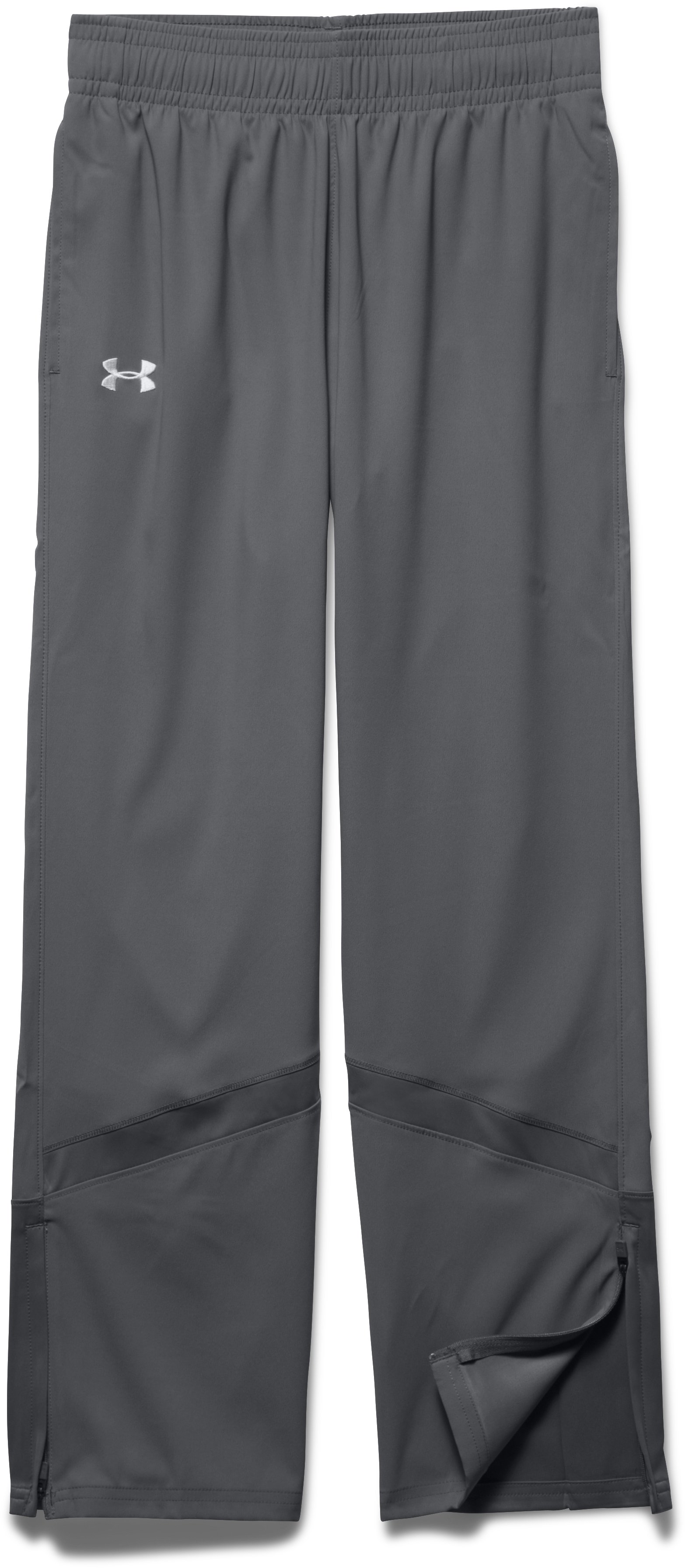 Girls' UA Pregame Woven Warm-Up Pants, Graphite, Laydown