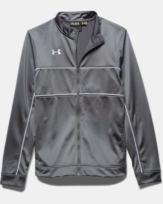 Boys' UA Rival Knit Warm-Up Jacket, Gray, pdpMainDesktop image number 2