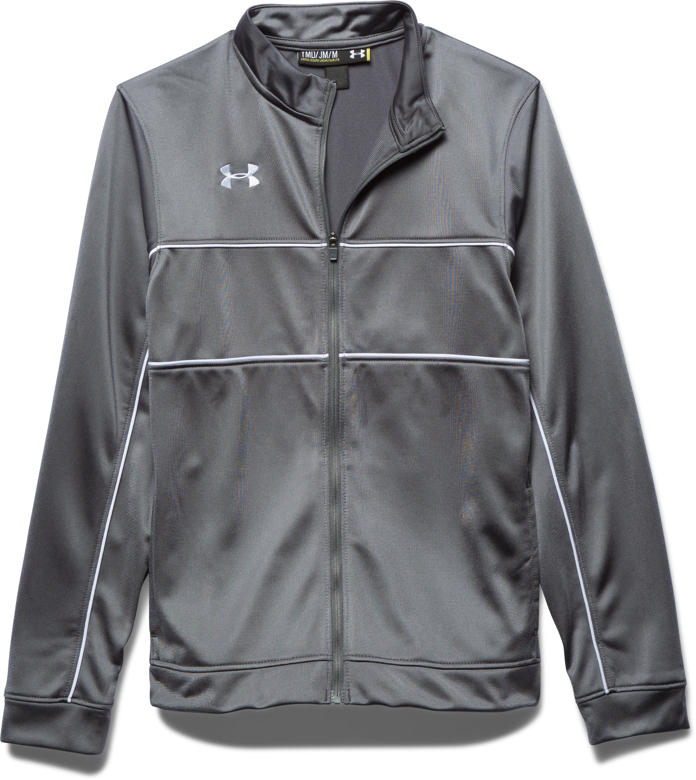 Boys' UA Rival Knit Warm Up Jacket, Graphite, Laydown