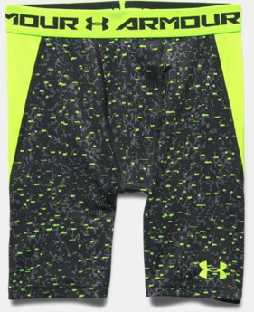 Boys' UA HeatGear® Armour Up Printed Fitted Shorts – Long