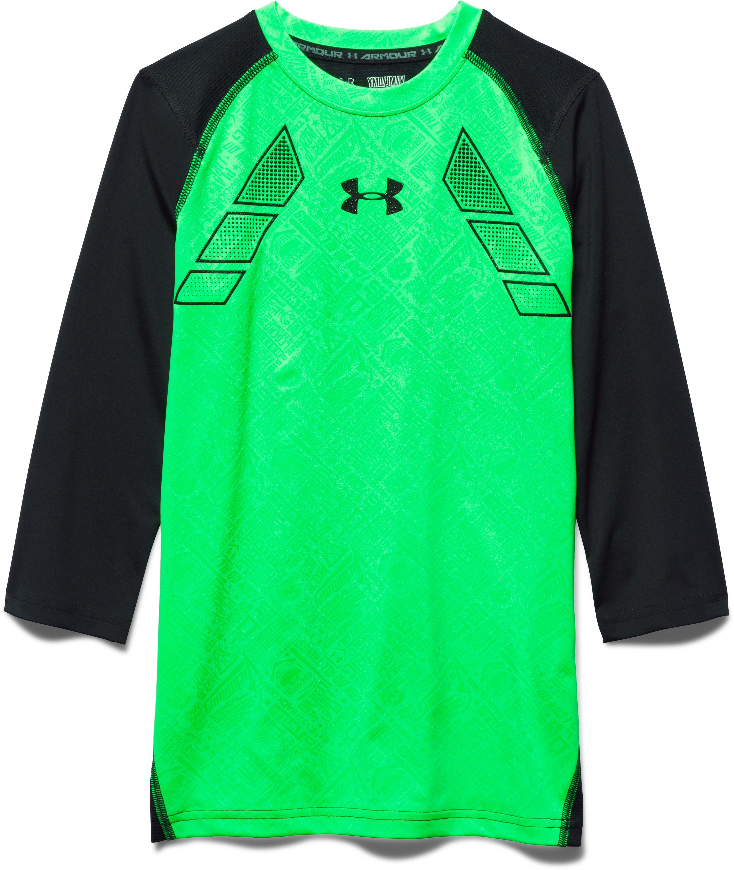Boys' UA Never Back Down ¾ Sleeve Shirt, LASER GREEN, zoomed image