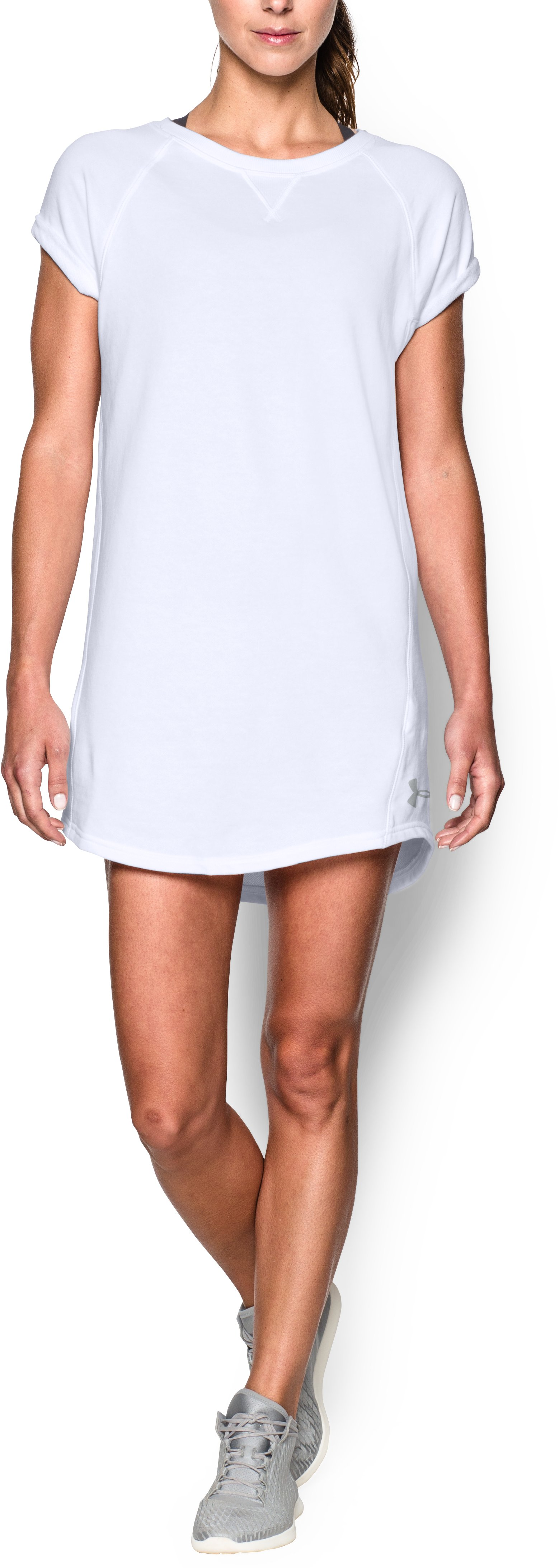 Women's UA Favorite  French Terry Tunic Dress, White, Front