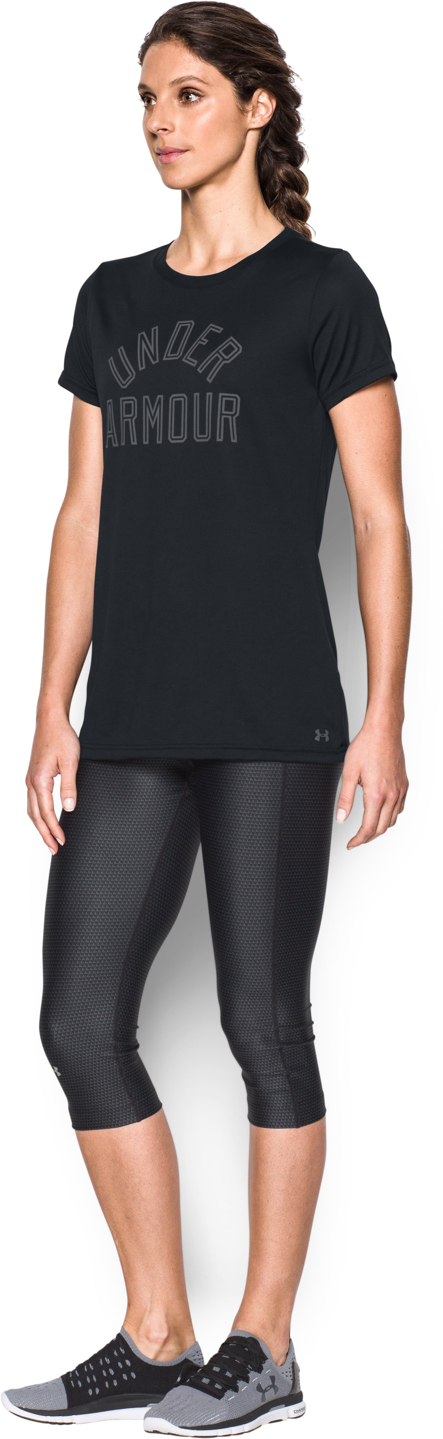Women's UA Tech™ Word Mark T-Shirt, Black ,