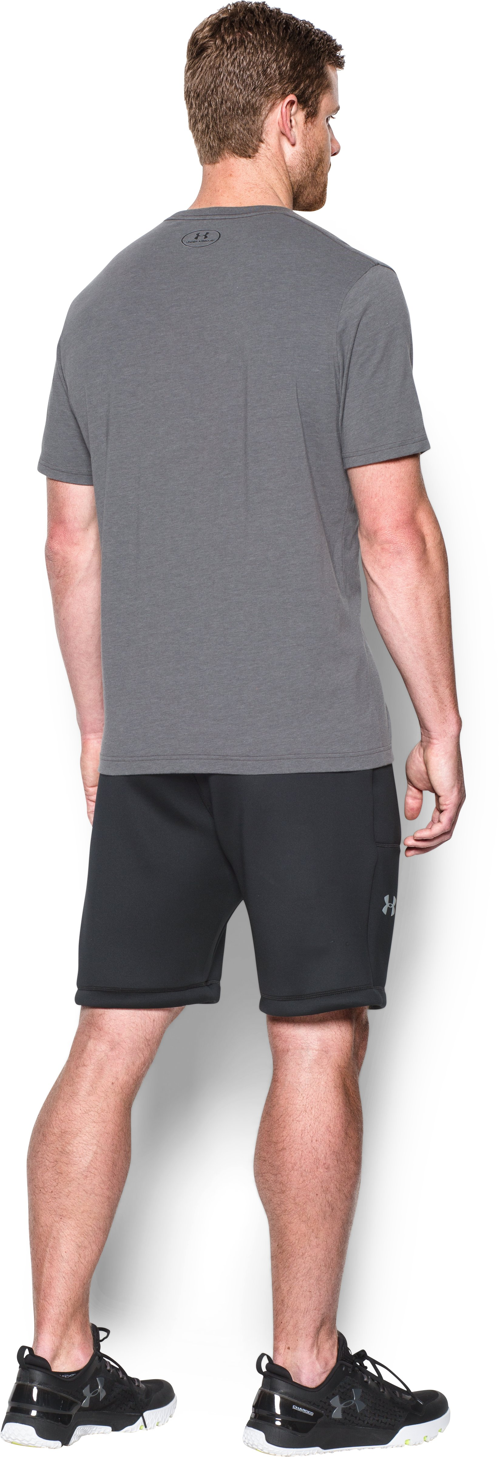Men's UA Spacer Fleece Shorts, Black , Back