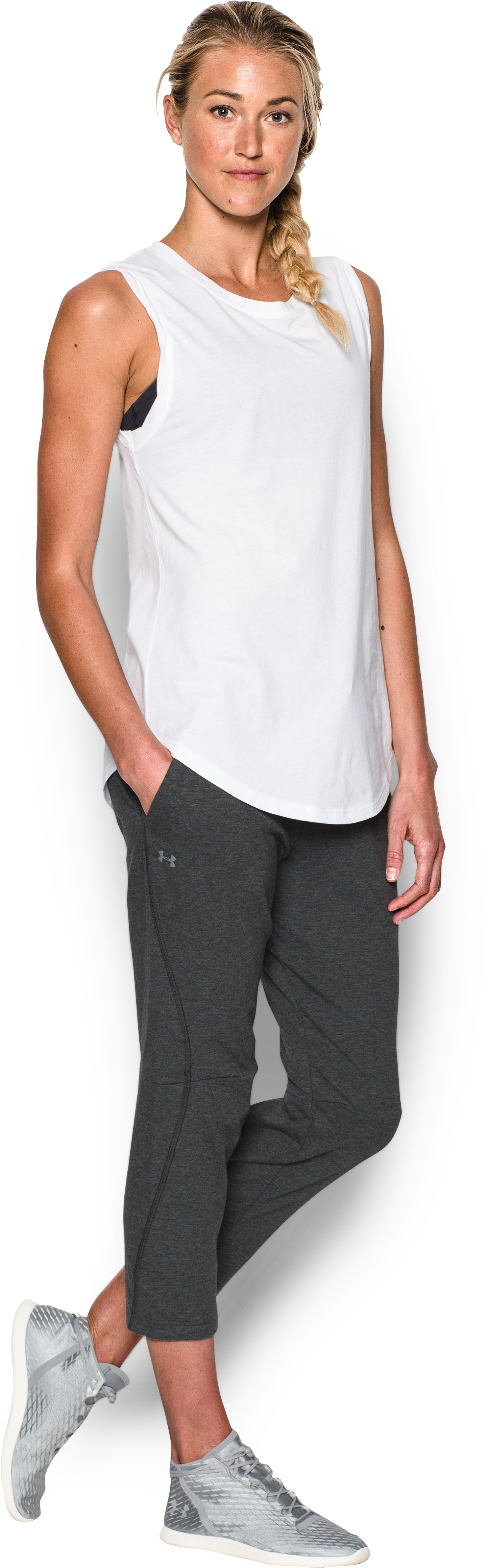 Women's UA Terry Crop, Steel, Front