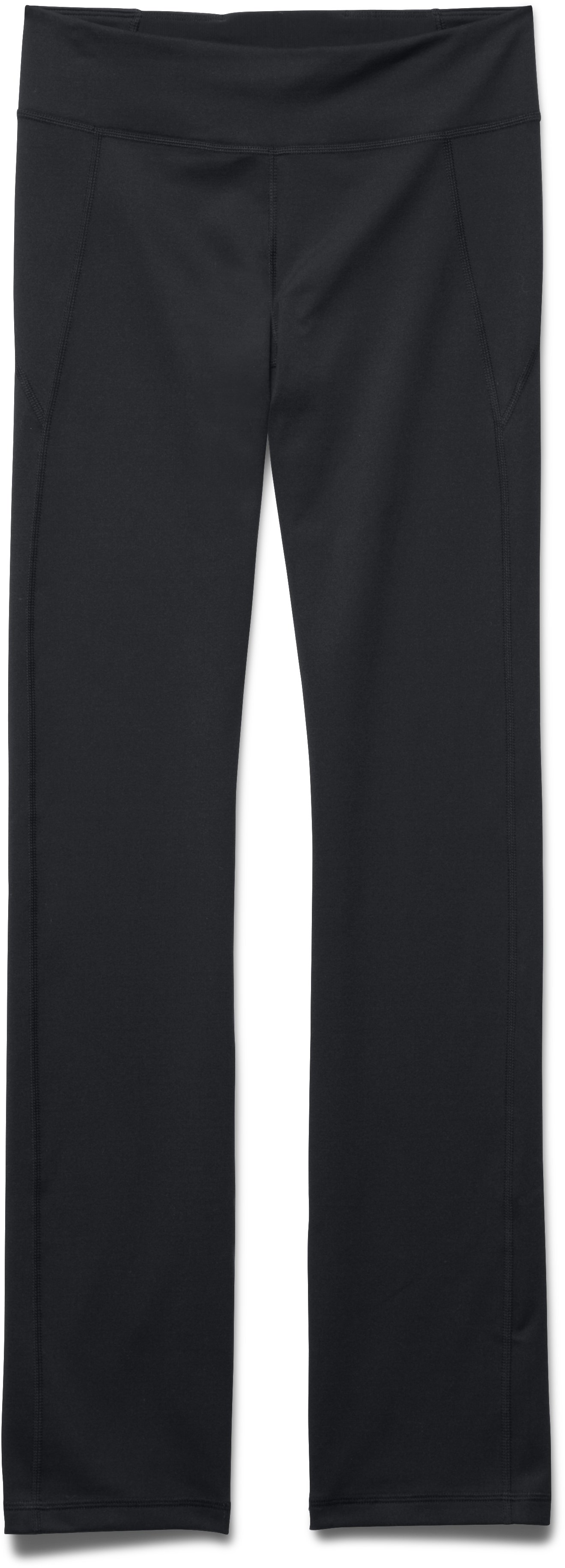Women's UA Mirror Straight Leg Pant, Black , Laydown