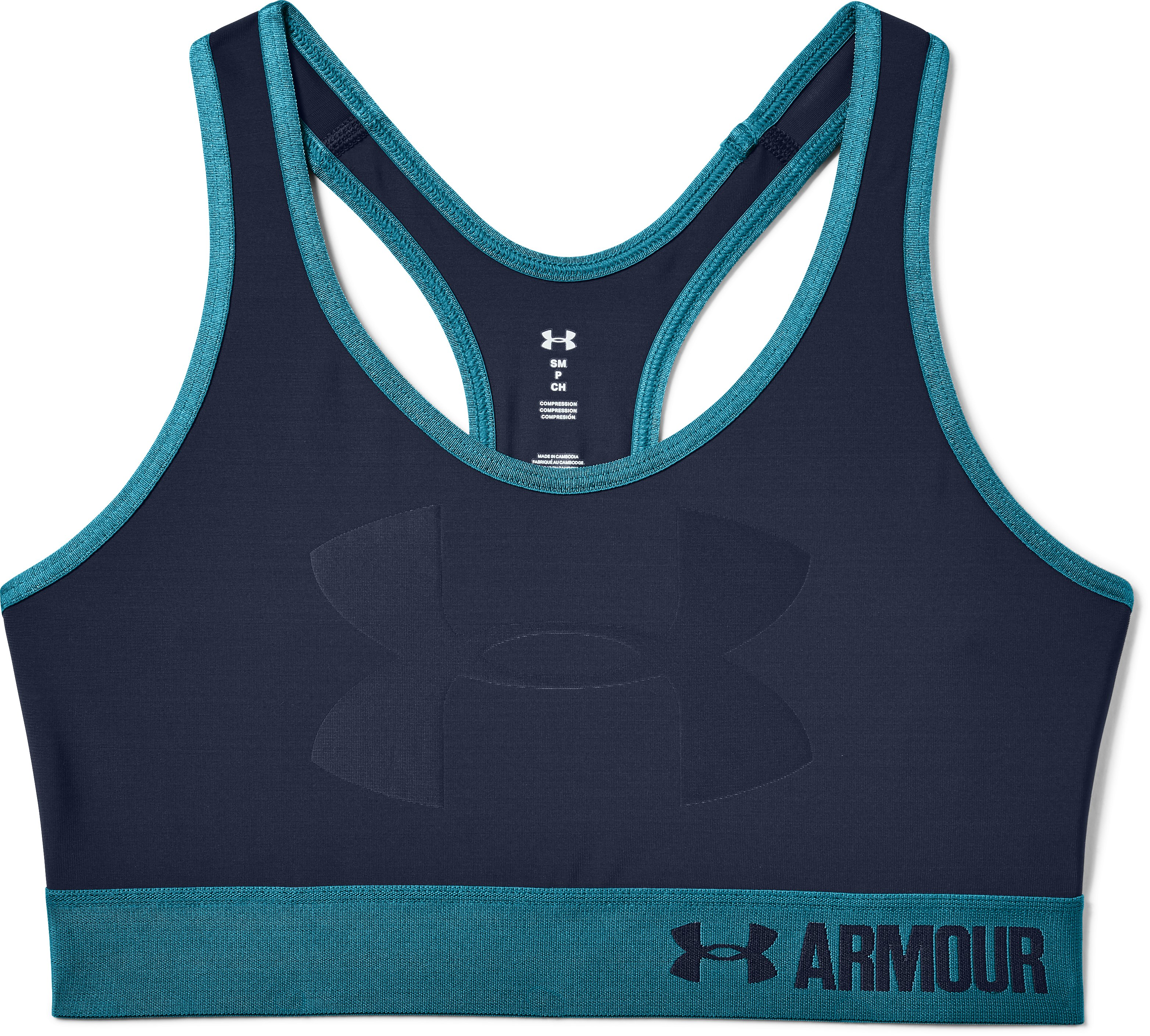 Women's Armour® Mid — Graphic Sports Bra, Midnight Navy,