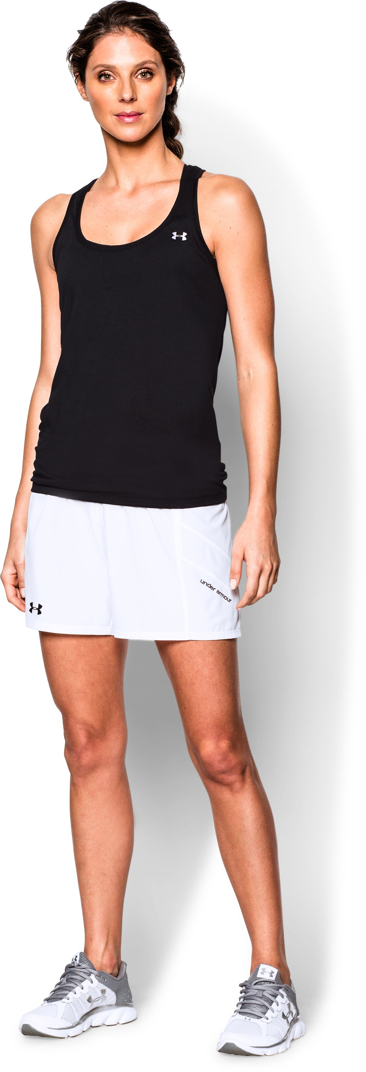Women's UA Pitch Woven Short, White, Front