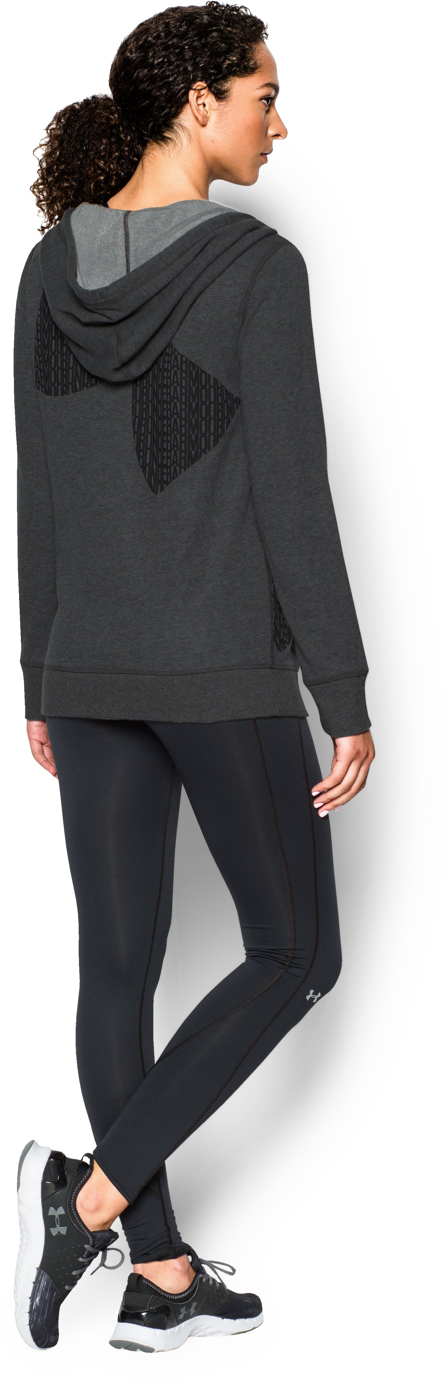 Women's UA Favorite French Terry Popover, Carbon Heather, Back