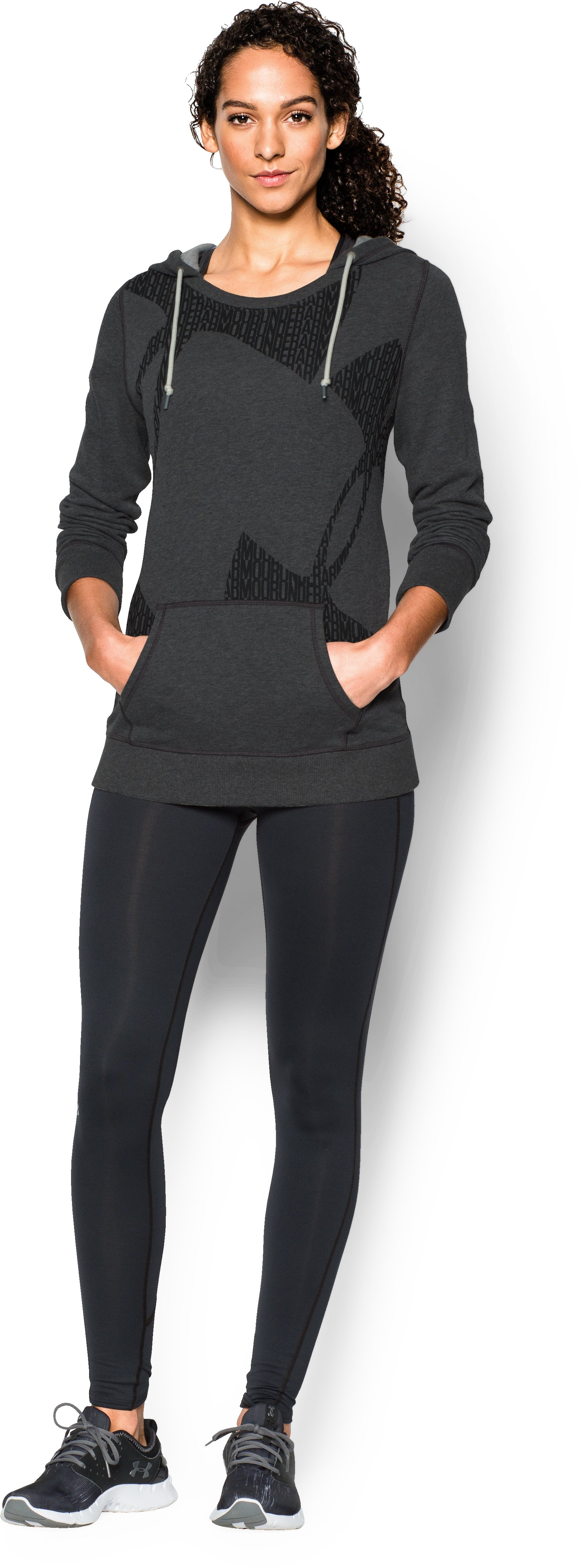 Women's UA Favorite French Terry Popover, Carbon Heather, Front