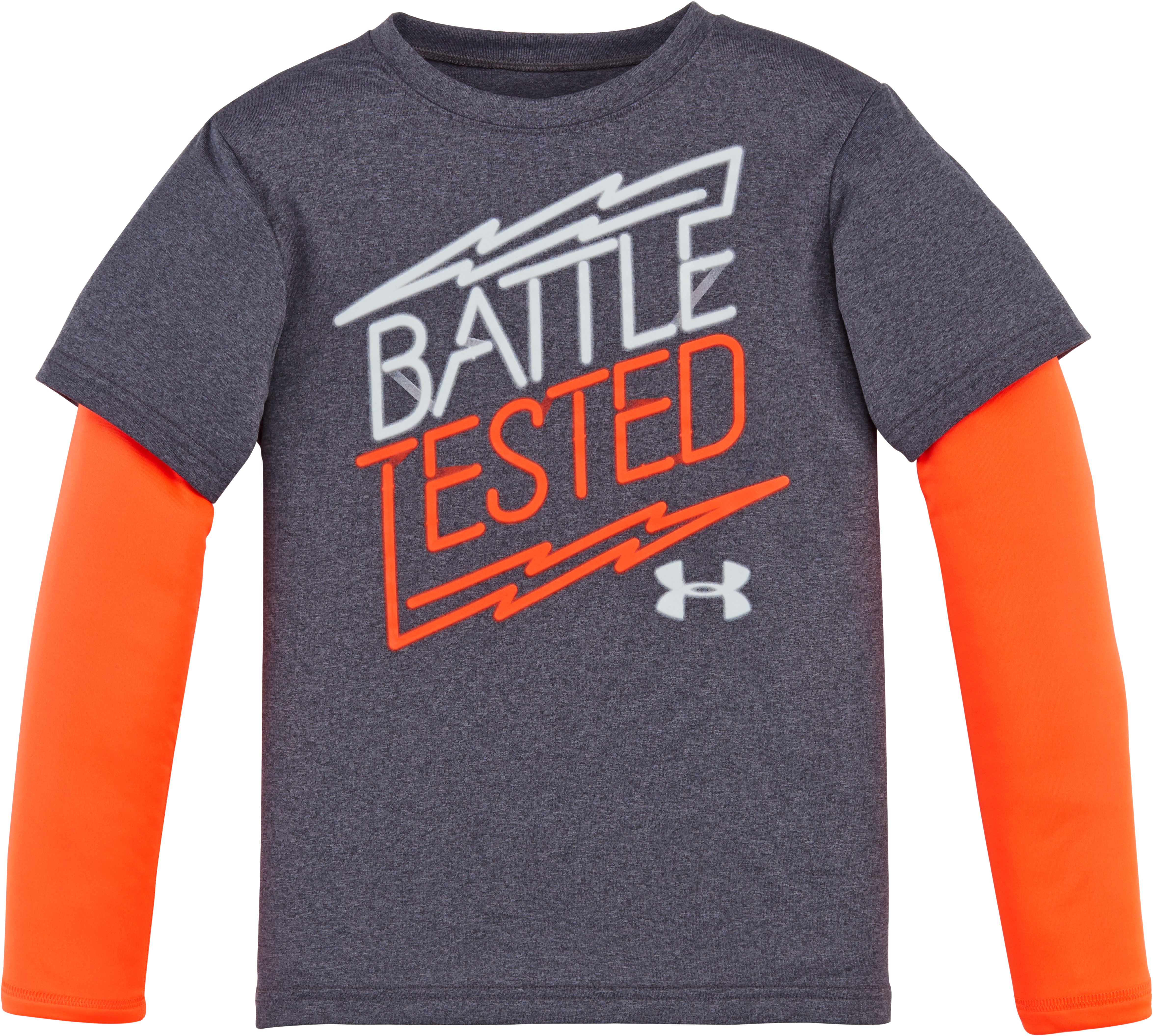 Boys' Pre-School UA Battle Tested Slider, Carbon Heather, Laydown