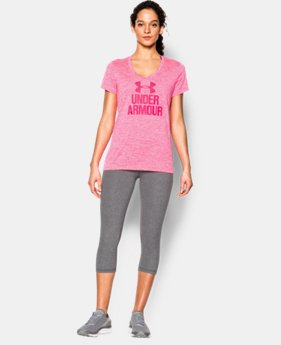 Women's UA Tech™ V-Neck - Twist Logo  1 Color $11.81 to $12.74