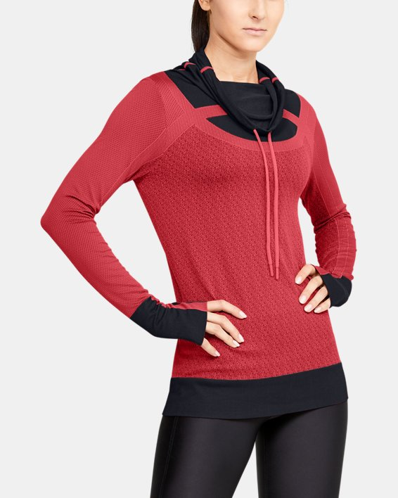 Women's UA Threadborne™ Seamless Funnel Neck, Orange, pdpMainDesktop image number 1