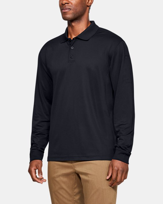 Polo UA Tactical Performance Long Sleeve pour homme, Black, pdpMainDesktop image number 0